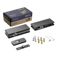Smart Glass Door Hydraulic Patch Set Heavy Duty - Black Brushed Stainless