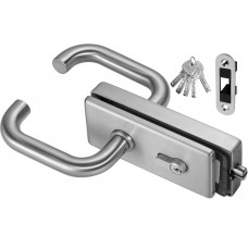 Stainless Steel Magnetic Glass Door Lever Latch Set
