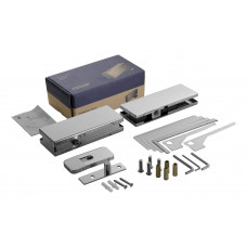Smart Glass Door Hydraulic Patch Set Heavy Duty - Brushed Stainless